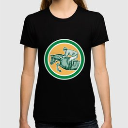 Equestrian Show Jumping Side Circle Retro T-shirt