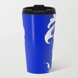 Damask Blue and White Victorian Swirl Damask Pattern Travel Mug