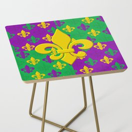 Mardi Gras Fleur-de-Lis Pattern Side Table