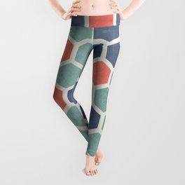 Honeycomb Geometrics, Vintage, Throw-Pillows, Art-Prints Leggings