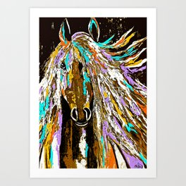 Horse Abstract Oil Painting Art Print