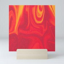 Red and Yellow Liquid Marble Swirling Pattern Texture Artwork #5 Mini Art Print