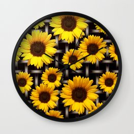 Bright Yellow Sunflower and Industrial Grid Pattern Wall Clock