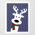 Reindeer in a snowy day (blue) by absentisdesigns