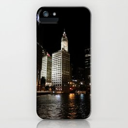 Wrigley Building and Chicago River at Night Color Photo iPhone Case