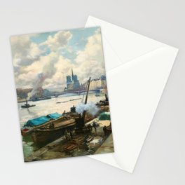 Notre Dame, River Seine, Paris Ile Saint-Louis with River Boats by Henri Alphonse Barnoin Stationery Cards