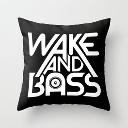 Wake And Bass (White) Throw Pillow