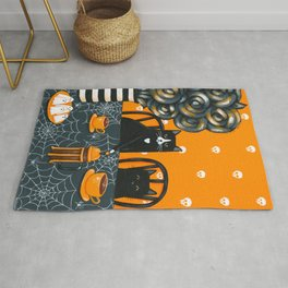 Halloween French Press Coffee Cats Rug