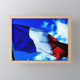 French flag blowing in the wind Framed Mini Art Print