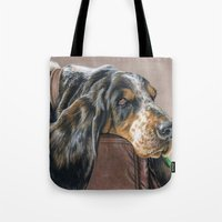 the hound Tote Bags featuring Hound Dog by Sarahphim Art