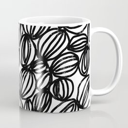 Loop black and white minimalist abstract painting mark making art print Coffee Mug
