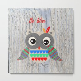 Little Tribal Owl Metal Print