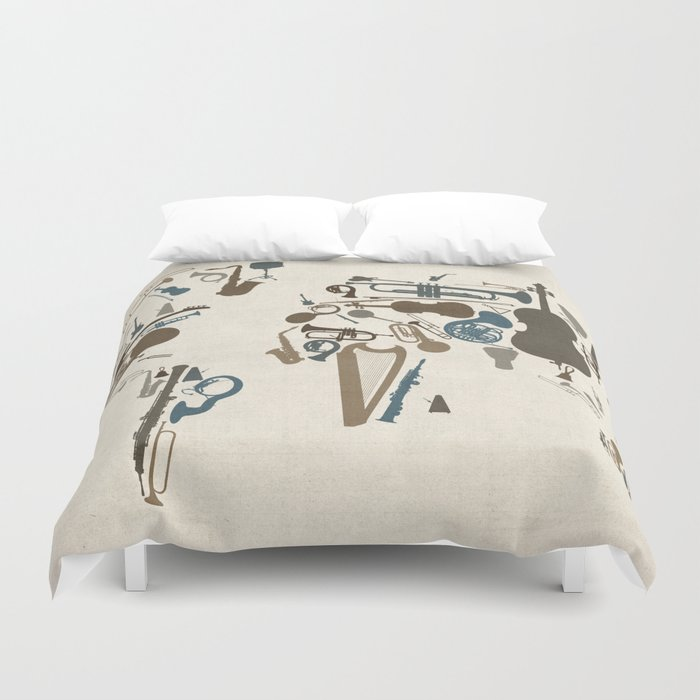 Musical Instruments Map of the World Duvet Cover by artpause