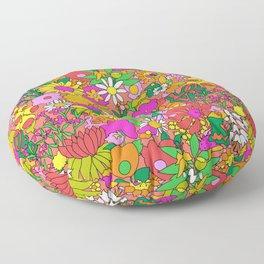 60's Groovy Garden in Neon Peach Coral Floor Pillow
