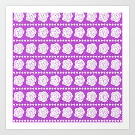 Simple White Roses - Purple BG Art Print