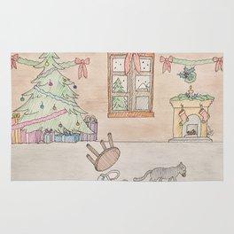 Mischievous Christmas cat Rug