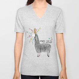 Anyone can be a unicorn...all you need is some creativity. Or a carrot if you're actually a llama. Unisex V-Neck