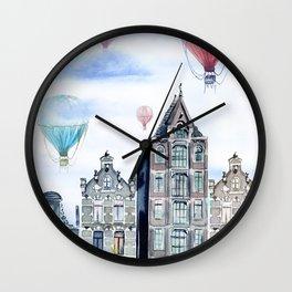 Amsterdam and balloons watercolor Wall Clock