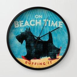 Beach Time Scottie by Stephen Fowler Wall Clock