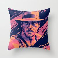 indiana jones Throw Pillows featuring indiana jones// bad actors v2 by mergedvisible