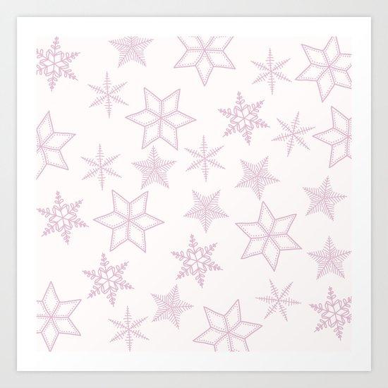 Pink Snowflakes On White Background Art Print