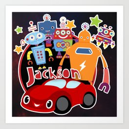 Jax-Red Car + Robots Art Print