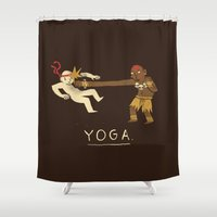 yoga Shower Curtains featuring yoga. by Louis Roskosch