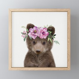 Baby Bear Cub with Flower Crown Framed Mini Art Print