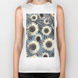 Tropical Sunflower Jungle Leaves Pattern #2 #tropical #decor #art #society6 Biker Tank