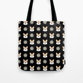 Corgi welsh corgi daisy flowers spring summer florals dog breed pet portrait by pet friendly Tote Bag