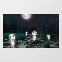 kodama Area & Throw Rugs featuring Forest Spirits (Kodama)   by pkarnold + The Cult Print Shop