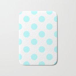 Large Polka Dots - Celeste Cyan on White Bath Mat
