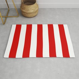 Rosso corsa red - solid color - white vertical lines pattern Rug