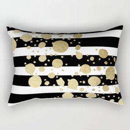 Faux Gold Paint Splatter on Black & White Stripes Rectangular Pillow