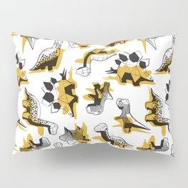 Geometric Dinos // non directional design white background yellow mustard dinosaurs shadows Pillow Sham
