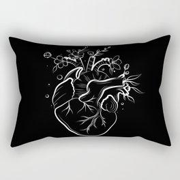 Human heart with flowers black Rectangular Pillow