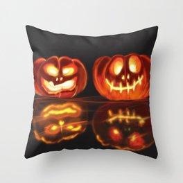 Shadowy Jack-O-Lanterns #Halloween #Pumpkins Throw Pillow