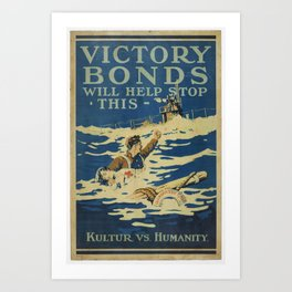 Poster, Victory Bonds, 1918, Canada, by Victory Loan Dominion Publicity Committee Art Print