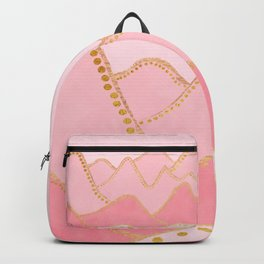 Pink Mountains with gold dots Backpack