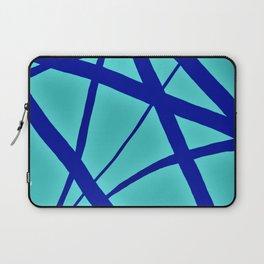 Glowing Aqua and Cobalt Geometric Abstract Laptop Sleeve