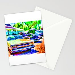 A line of classic antique cars 3 Stationery Cards