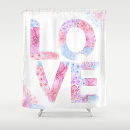 XOXO Floral Watercolor Printable Home Wall Decor Shower Curtain