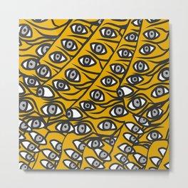 Freddie Eyeballs Golden Yellow Metal Print