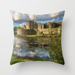 Caerphilly Castle Moat Throw Pillow