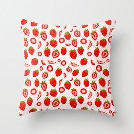 Strawberry milk kawaii Throw Pillow