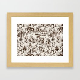 Alice in Wonderland | Toile de Jouy | Brown and Beige Framed Art Print