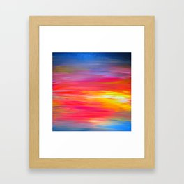 BRIGHT HORIZONS Bold Colorful Rainbow Pink Yellow Blue Abstract Painting Sunrise Sunset Stripes  Framed Art Print