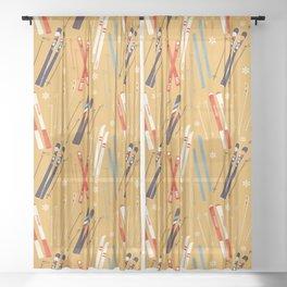 Bright Retro Skii Pattern Sheer Curtain