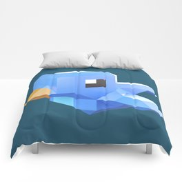 Cute low-poly Twitter bird character Comforters