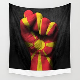 Macedonian Flag on a Raised Clenched Fist Wall Tapestry